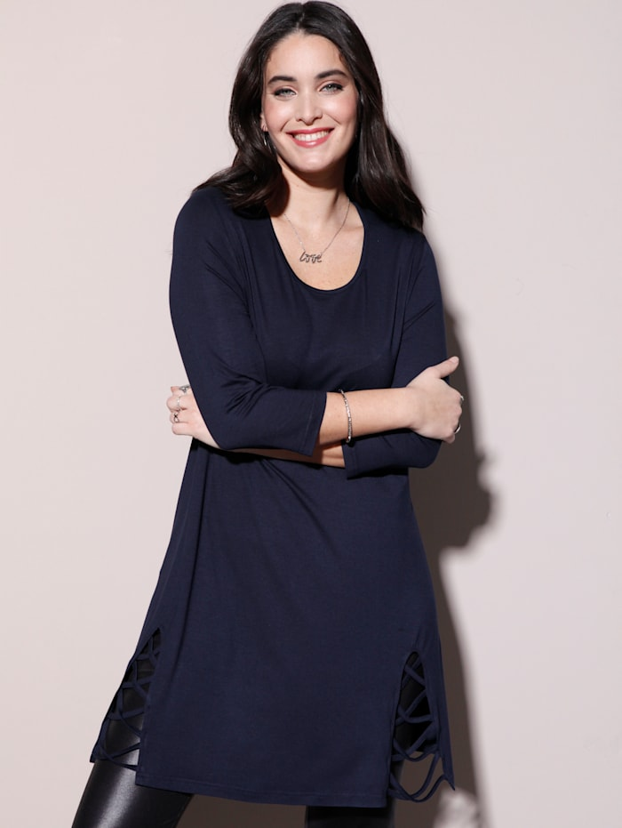 MIAMODA Longshirt mit Bänderdetail am Saum, Marineblau
