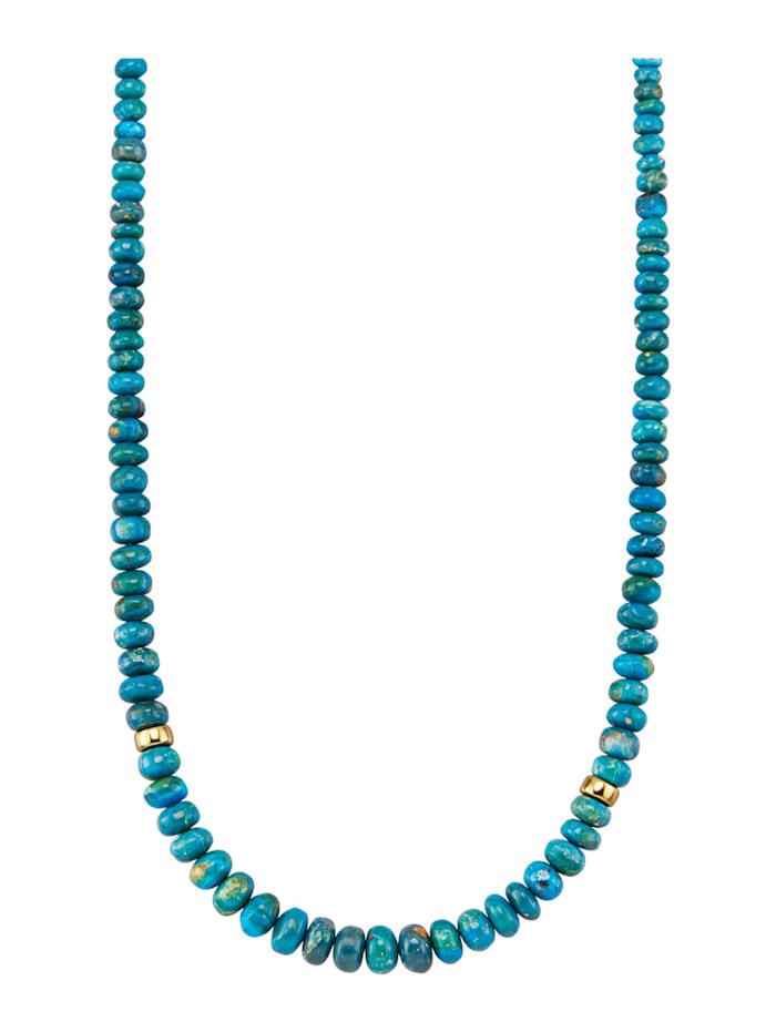 Diemer Farbstein Landschaftsopal-Kette in Gelbgold 585, Blau