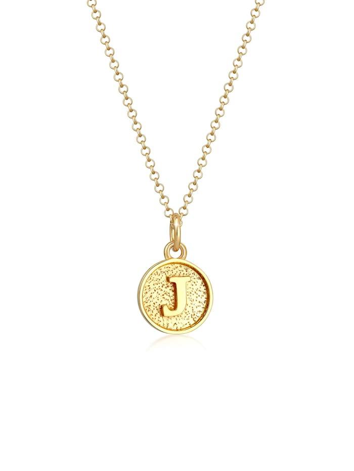 Elli Halskette Buchstabe J Initialen Vintage Plättchen 925 Silber, Gold