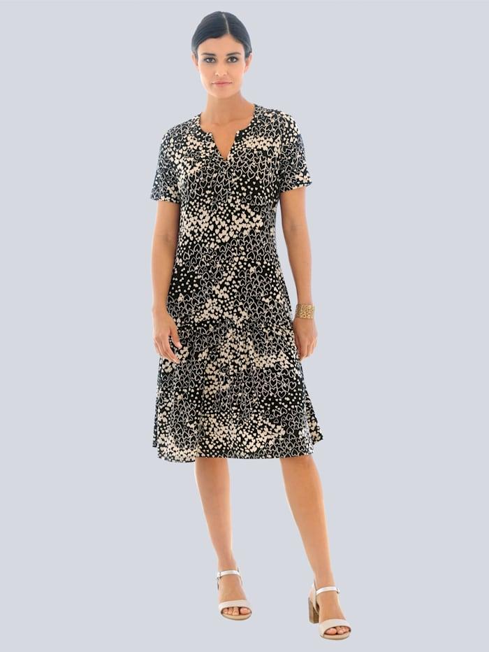 Jerseykleid allover im Herzchen-Print