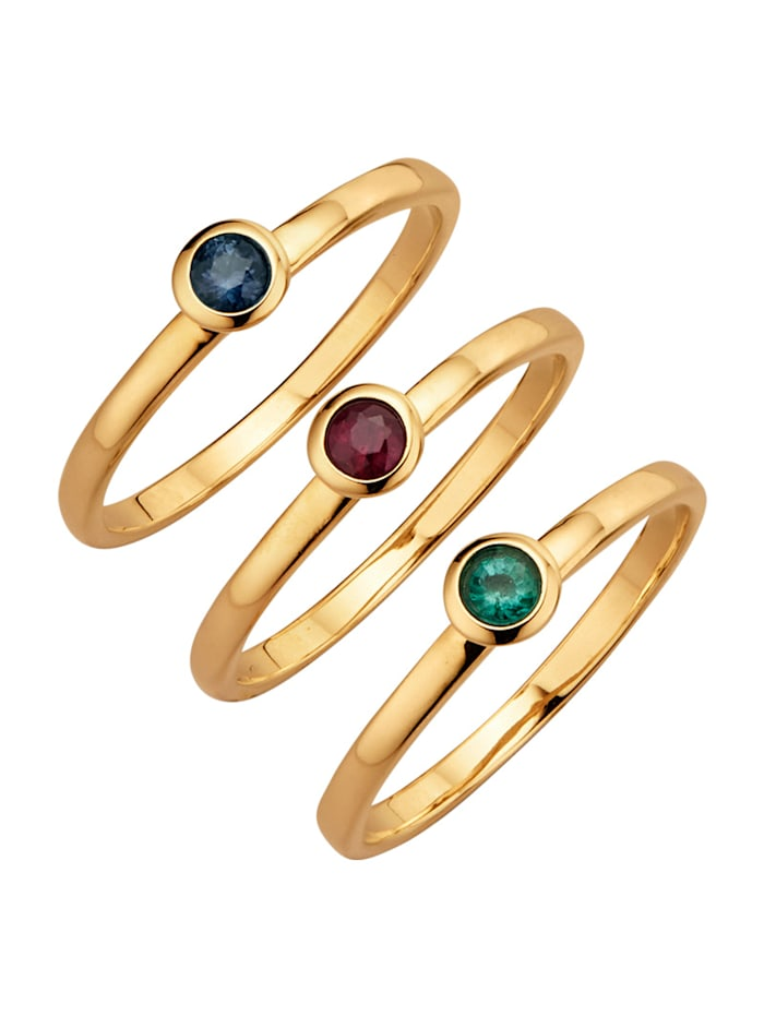 Diemer Farbstein 3tlg. Ring-Set mit Rubin, Saphir und Smaragd, Multicolor