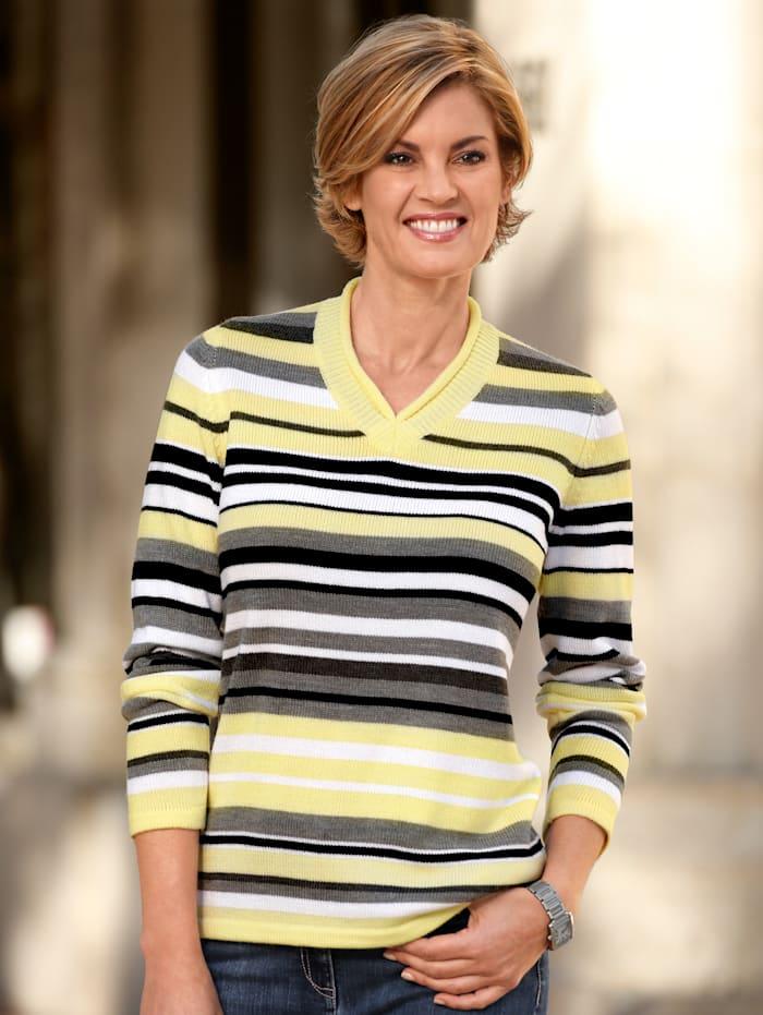 Paola Pullover mit Rollkante am V-Ausschnitt, Gelb