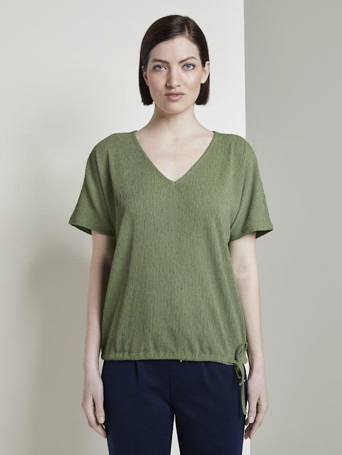 Tom Tailor Denim Strukturiertes T-Shirt mit V-Ausschnitt, olive green
