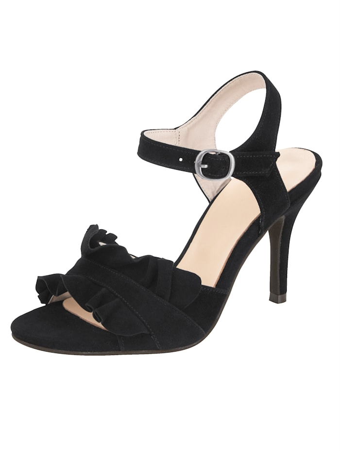 Sandale mit verspielter Volant-Verzierung, Schwarz