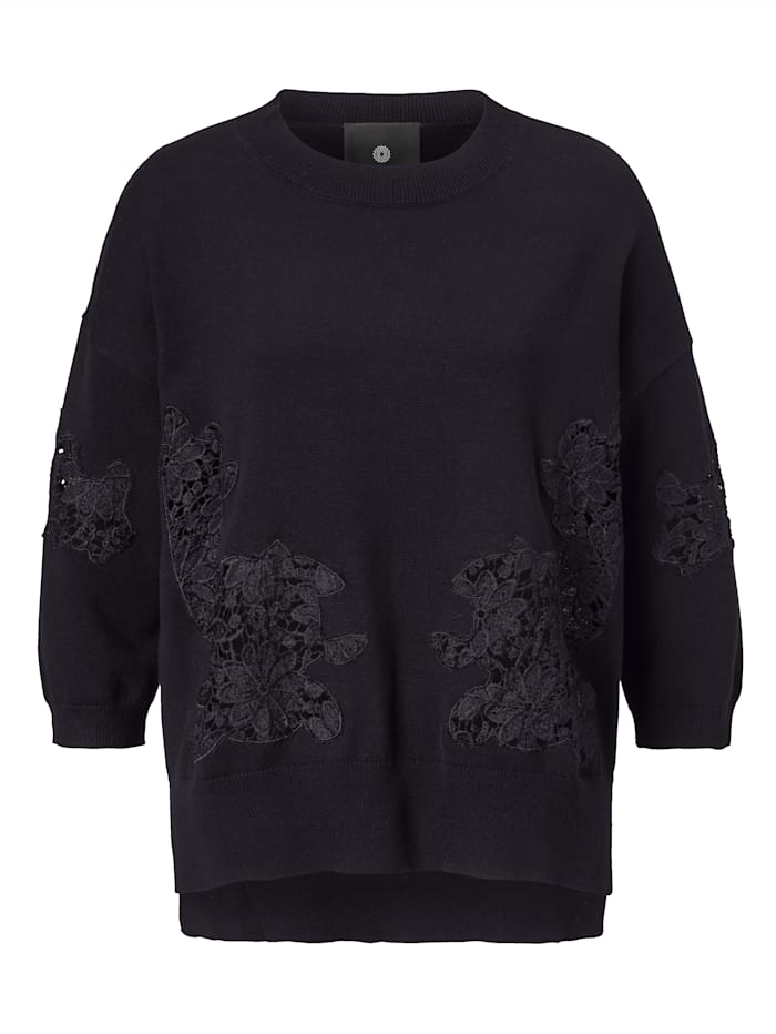 Pullover mit Einsätzen aus Spitze