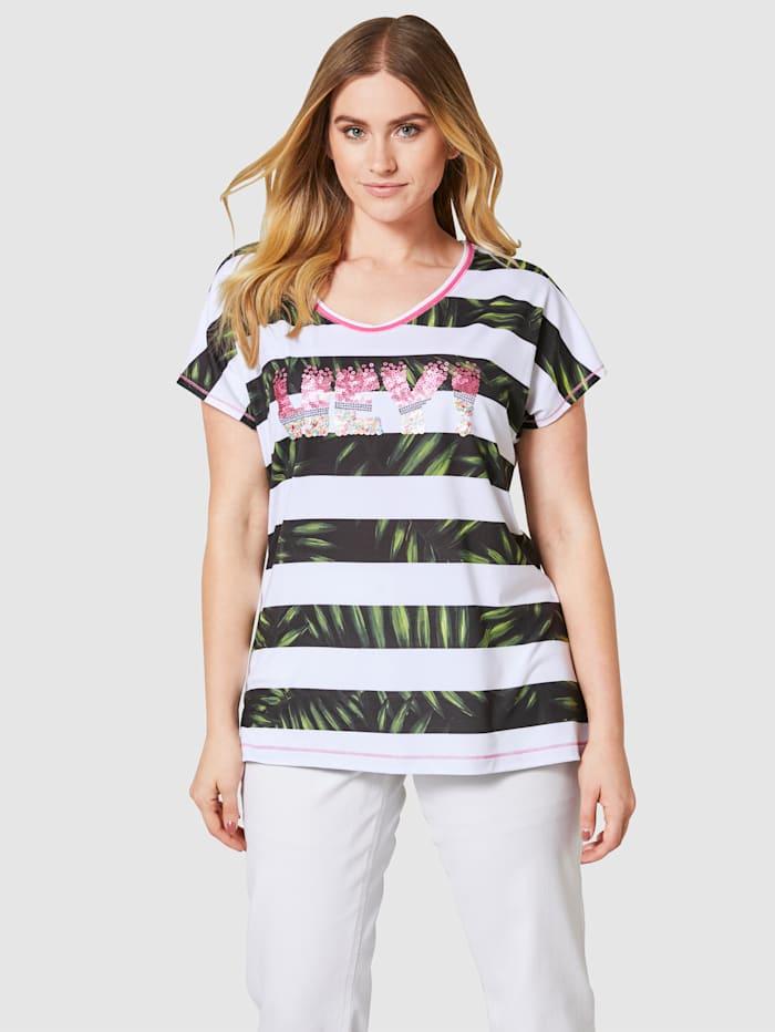 Sara Lindholm Shirt mit effektvollen Pailletten, Weiß/Khaki