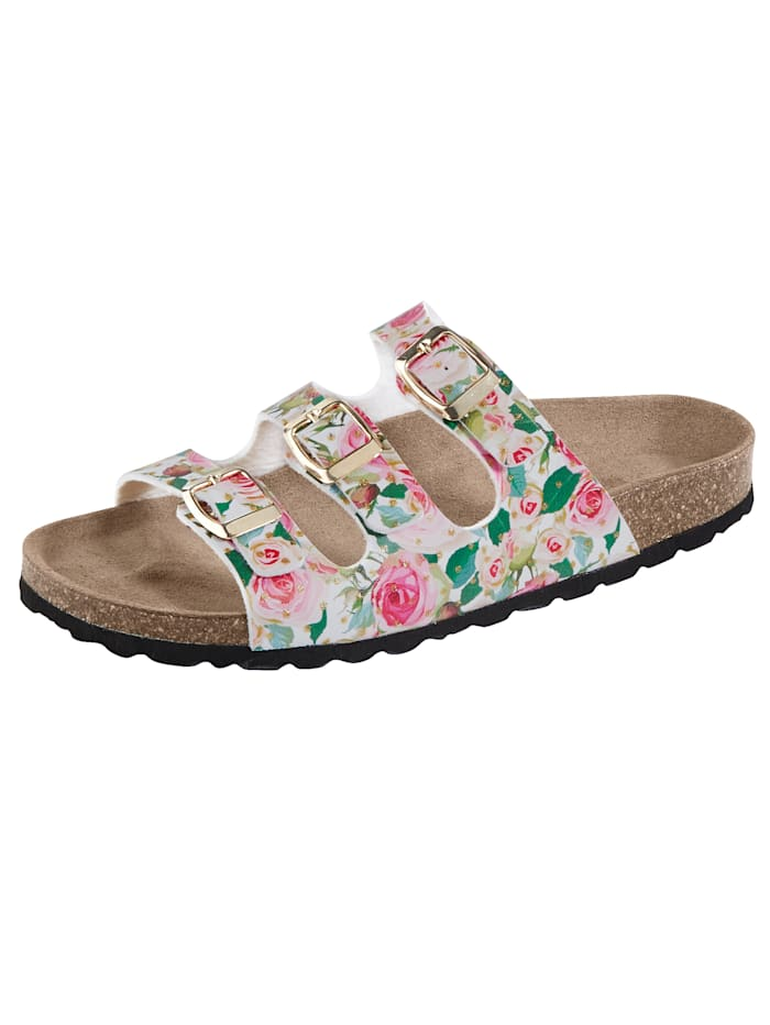 Mules with a gorgeous floral print, Multi