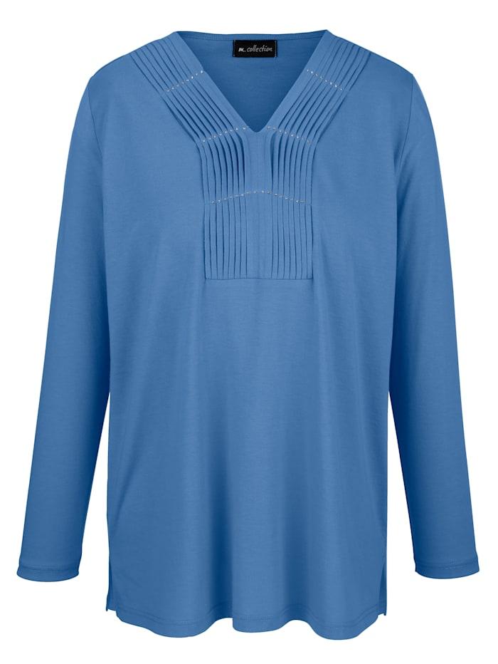 m. collection Shirt mit aufwendig gearbeitetem V-Ausschnitt, Blau