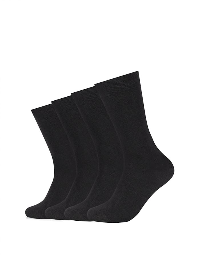 Camano Socken 4er-Pack ca-soft mit weichem Komfortbund, black