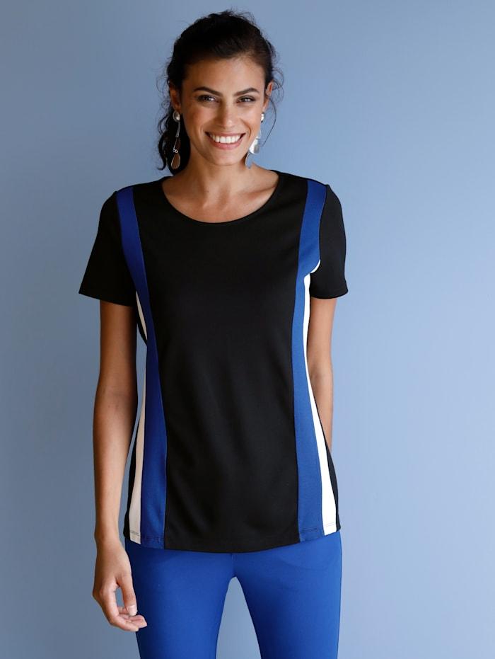AMY VERMONT Shirt met strepen, Zwart/Wit/Royal blue