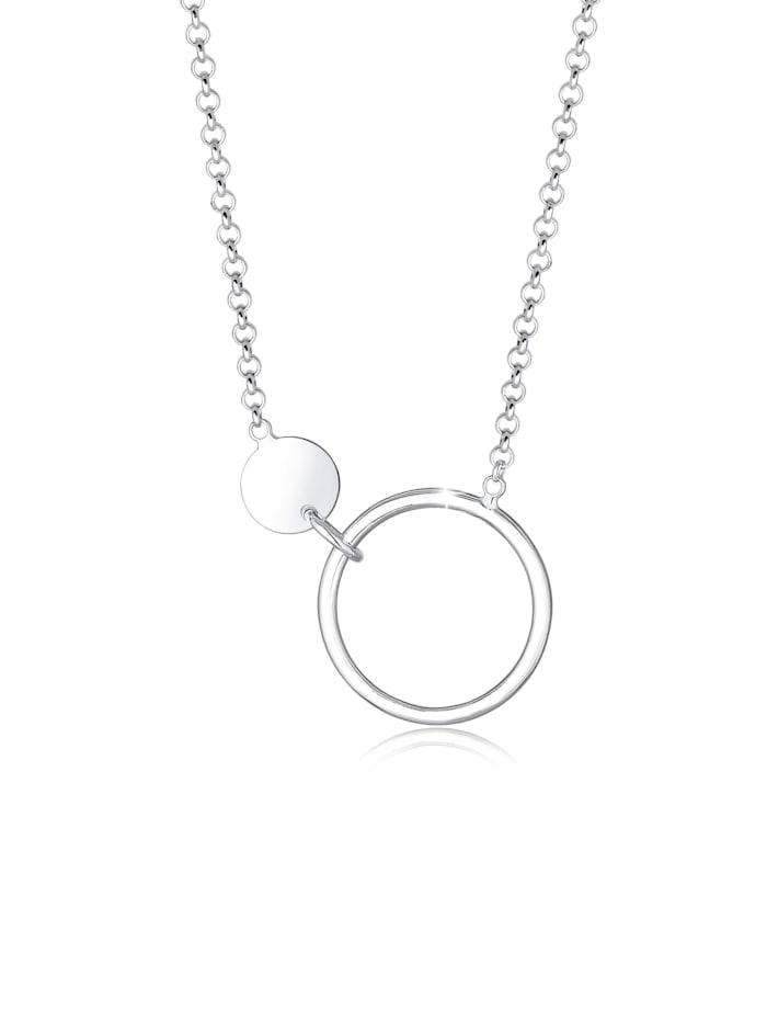 Elli Halskette Erbskette Kreis Plättchen Geo Design 925 Silber, Silber