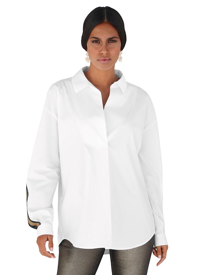 AMY VERMONT Bluse mit Zierstreifen, Weiß