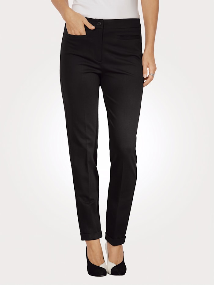 MONA Jersey trousers with a turn up hem, Black