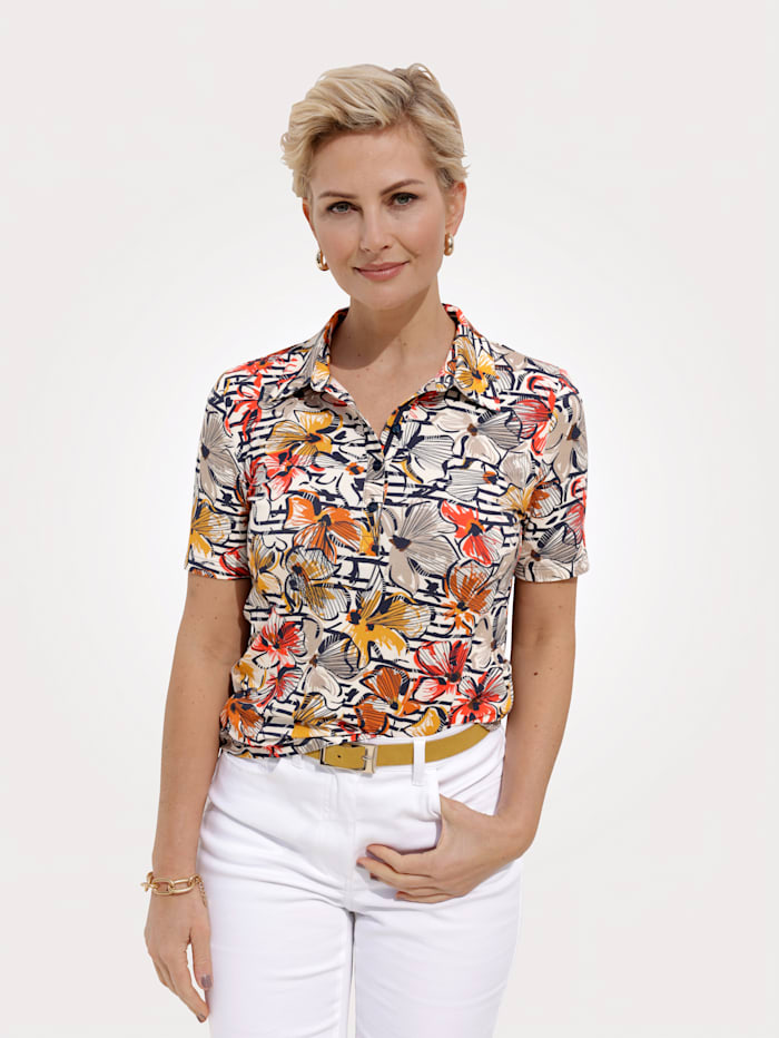 Barbara Lebek Poloshirt, Marineblau/Orange