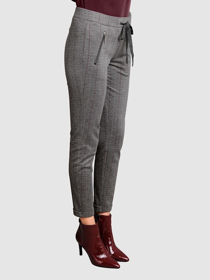 Alba Moda Kalhoty s jemnými proužky v kontrastní barvě, Bordó