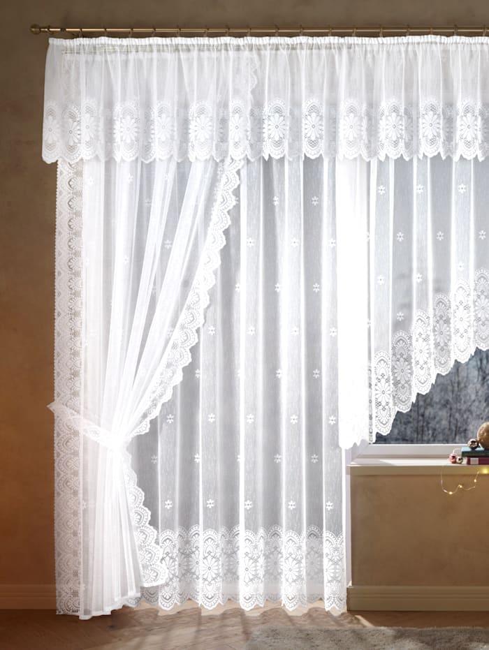 Žakárová záclona s páskou na automatické riasenie