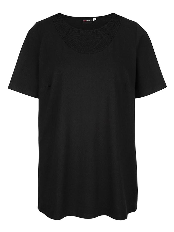 MIAMODA Shirt mit transparenter Spitze am Ausschnitt, Schwarz