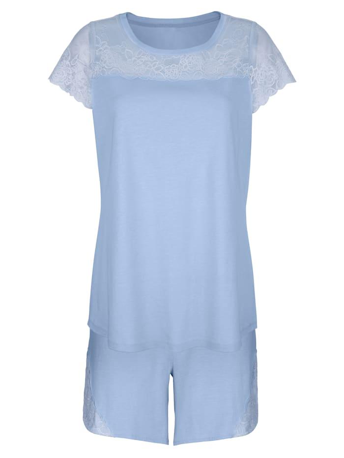 Harmony Pyjashort à empiècements en dentelle florale, Bleu ciel