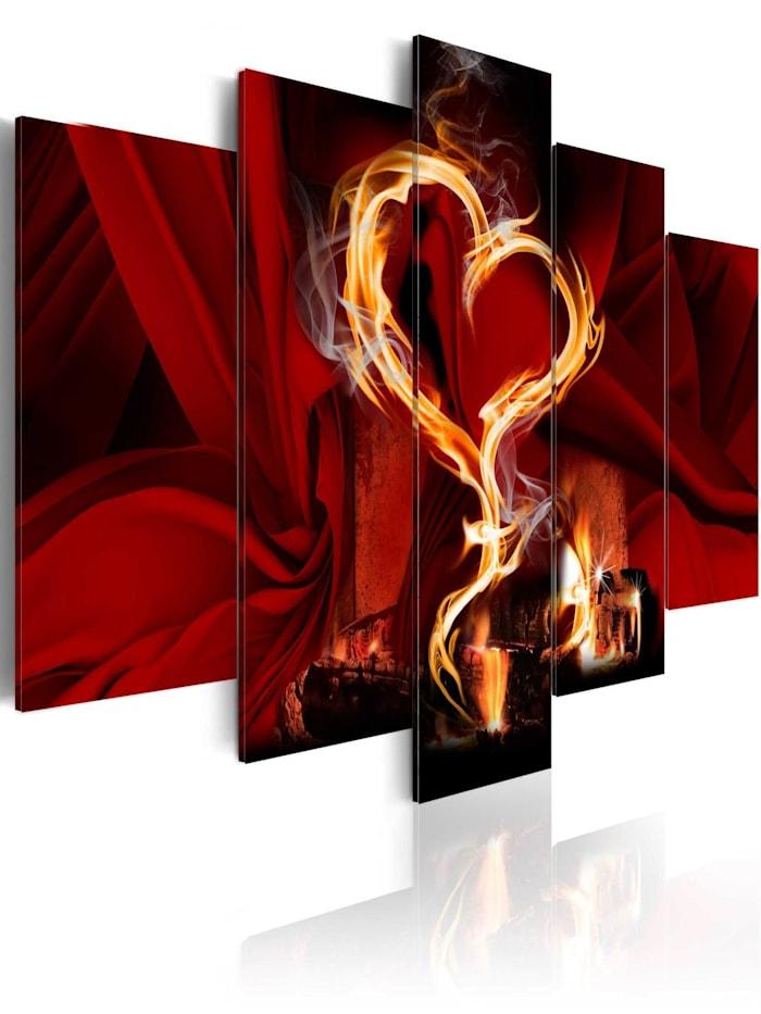 artgeist Wandbild Flammen der Liebe: Herzen, Schwarz,Rot,Gelb
