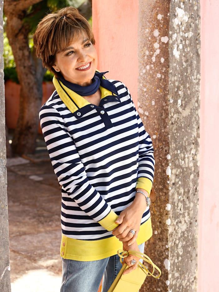 Paola Sweatshirt med randigt mönster, Marinblå/Vit/Gul