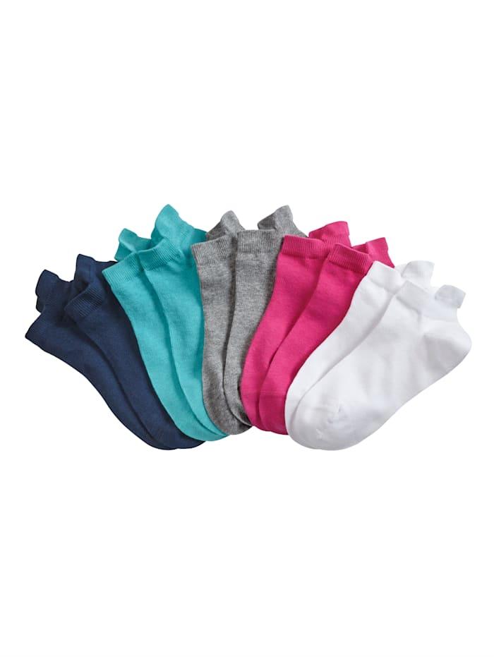Blue Moon Sneakersokken, Turquoise/Wit/Grijs/Blauw/Pink