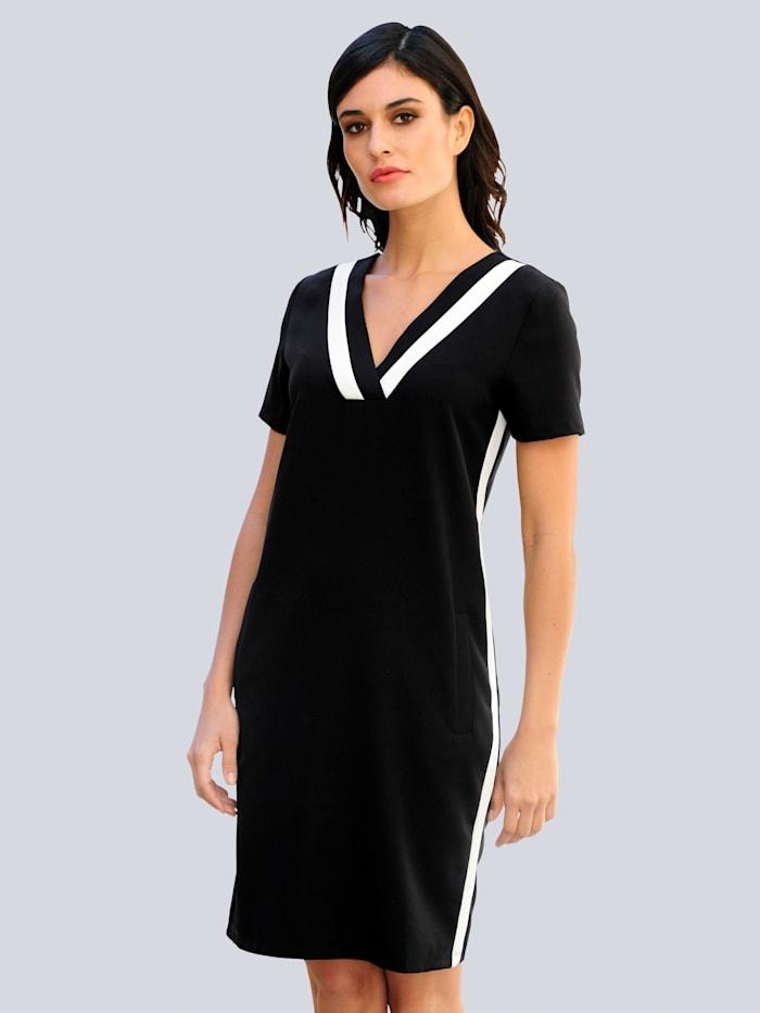 Alba Moda Kleid in klassischer Farbstellung, Schwarz/Off-white