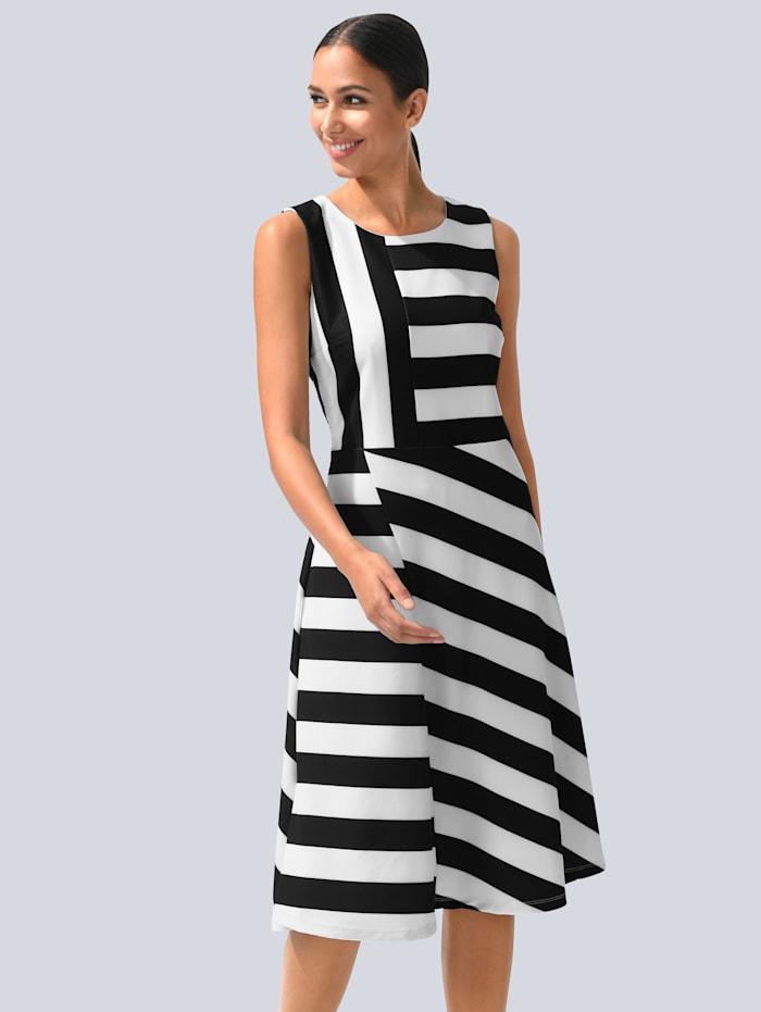 Alba Moda Kleid im Blockstreifen-Dessin allover, Schwarz/Off-white