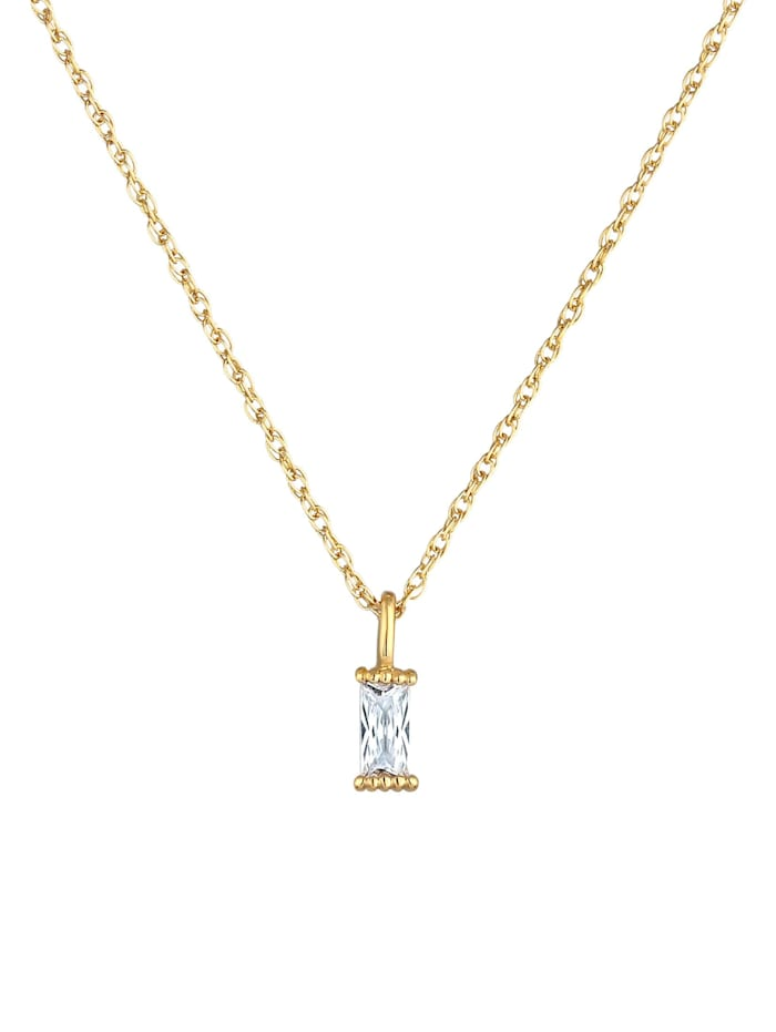 Halskette Gedreht Solitär Zirkonia Rechteck 925 Silber