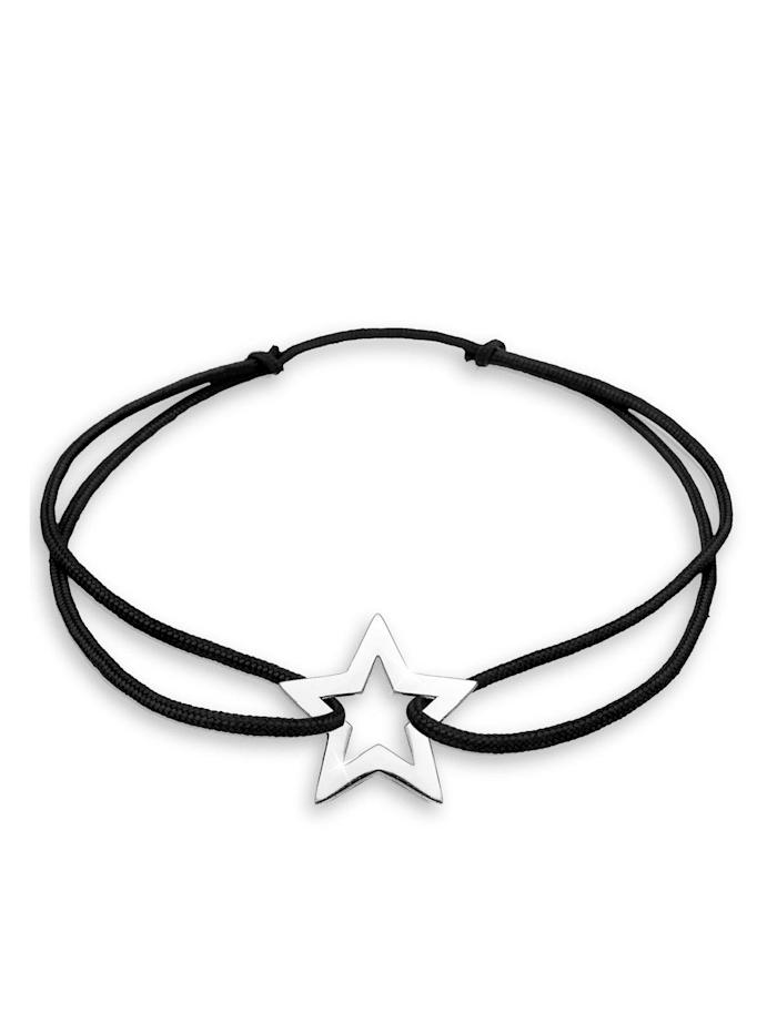 Elli Armband Stern Astro Himmel Nylon 925 Sterling Silber, Schwarz