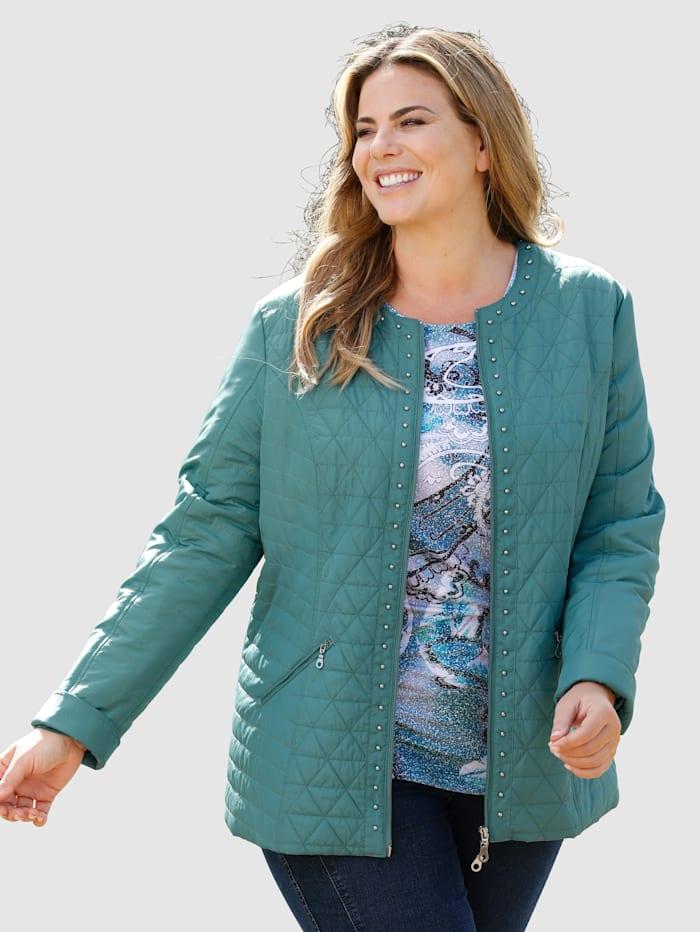 m. collection Gewatteerde jas met klinknageltjesdecoratie, Petrol