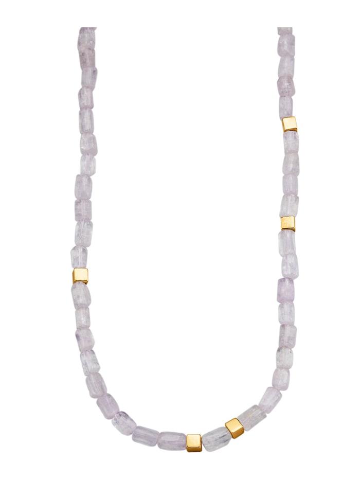 Diemer Farbstein Kunzit-Kette in Silber 925 vergoldet, Rosé