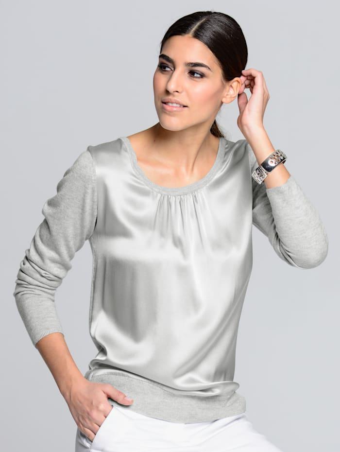 Alba Moda Pullover mit Einsatz aus edler Seide, Grau