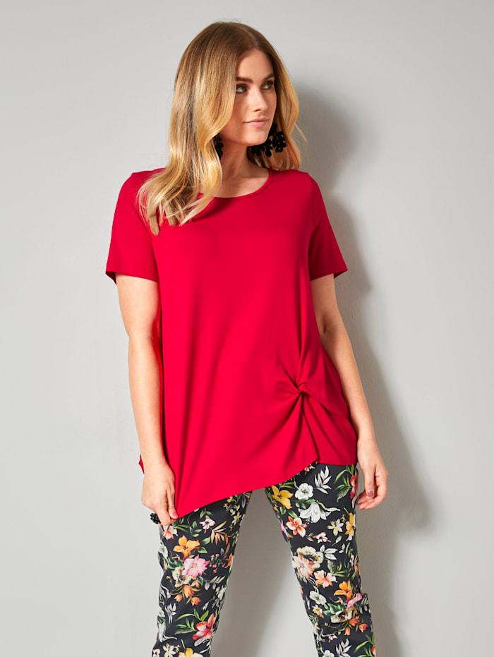 Sara Lindholm Shirt met decoratieve knoop, Rood
