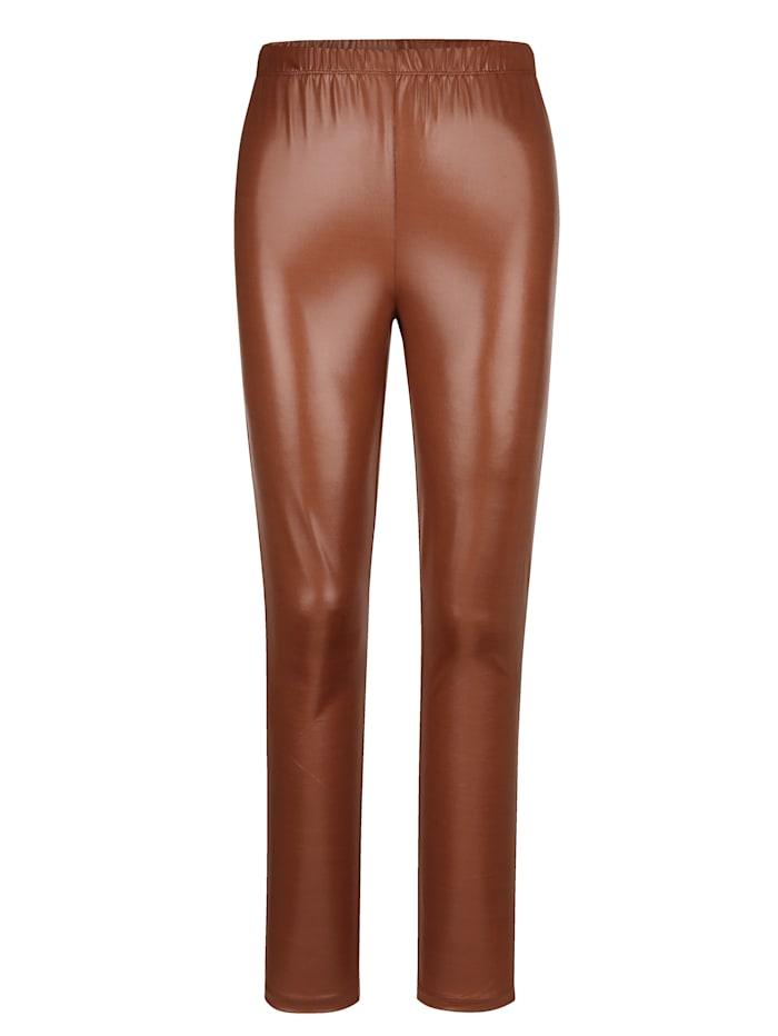 MIAMODA Leggings aus leicht glänzender Qualität, Cognac