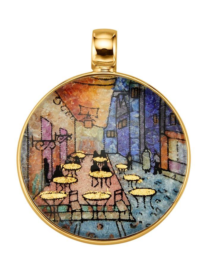 Amara Pierres colorées Pendentif avec pierre raffinée ornée d'un dessin, Multicolore