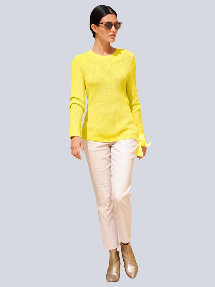Alba Moda Pullover mit trendiger Schleifenverarbeitung, Gelb