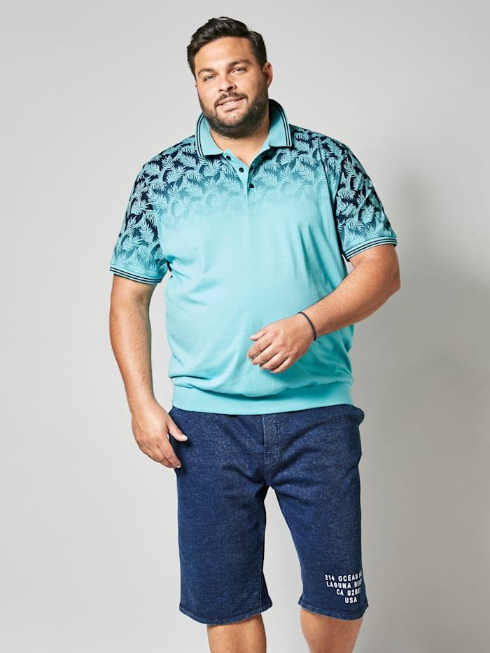 Men Plus Poloshirt met zomerse bladerenprint, Turquoise/Marine