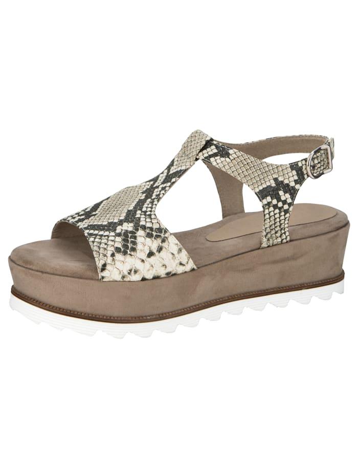 Sandaaltje met trendy slangenprint, Taupe