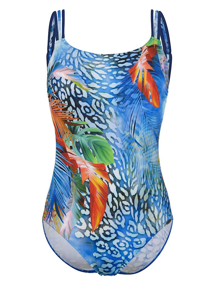 Sunflair Maillot de bain à motif placé, Bleu/Multicolore