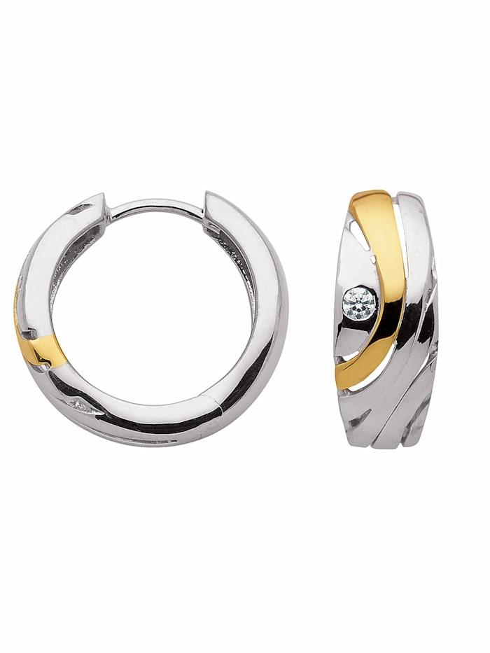 1001 Diamonds 1001 Diamonds Damen Silberschmuck 925 Silber Ohrringe / Creolen mit Zirkonia Ø 16,9 mm, silber