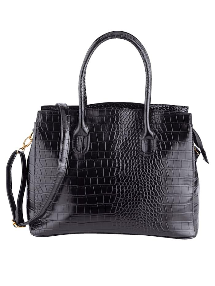 Aimée Handbag in an embossed finish, Black