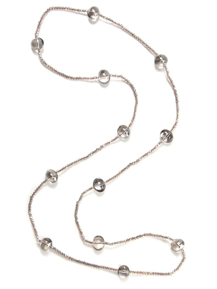 Collezione Alessandro Lange Kette Marseille mit kleinen Glasperlen, grau