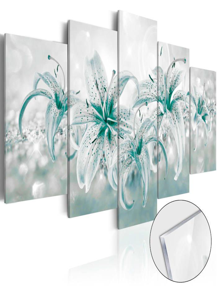 artgeist Acrylglasbild Sapphire Lilies [Glass], Blau,Grau,Weiß