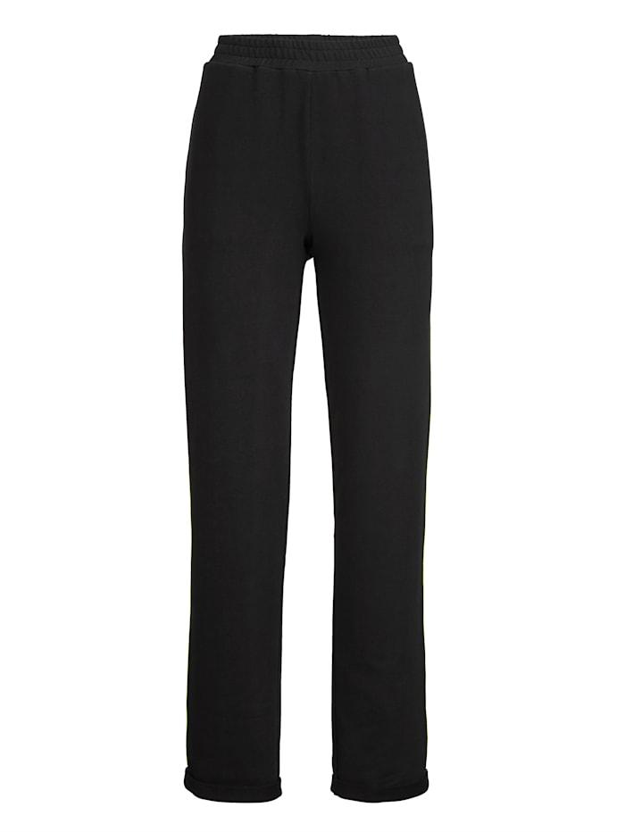 AMY VERMONT Sweathose mit kontrastfarbenem Zierstreifen, Schwarz/Neongrün