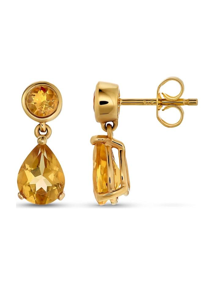 CHRIST Damen-Ohrhänger 375er Gelbgold 2 Citrin
