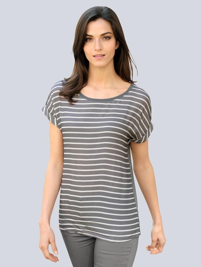 Alba Moda Shirt met modieus streepdessin, Antraciet/Wit