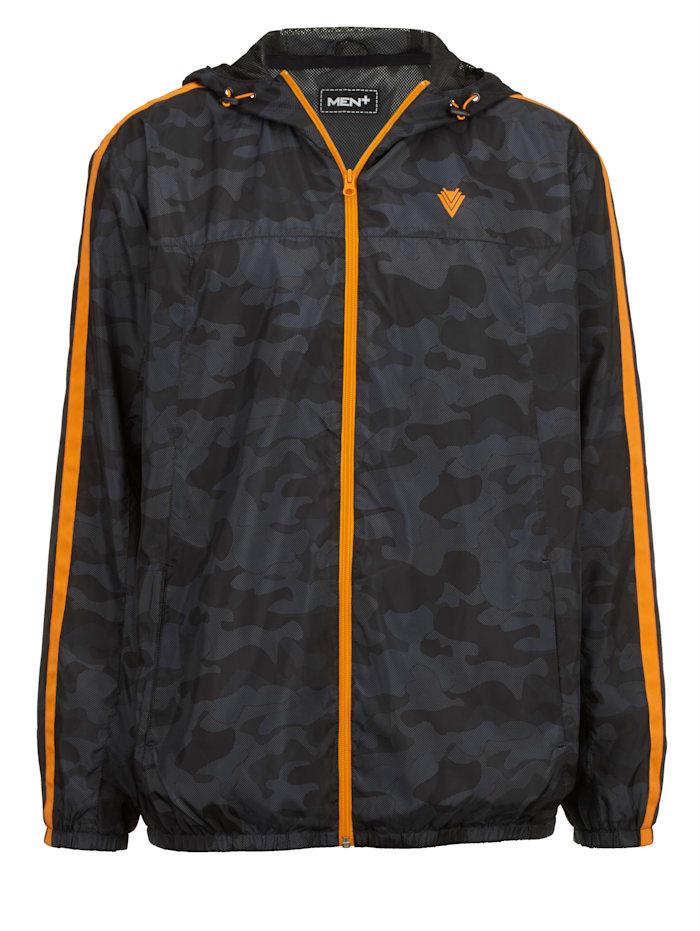 Men Plus Trainingsjack met contrastkleurige details, Grijs/Zwart
