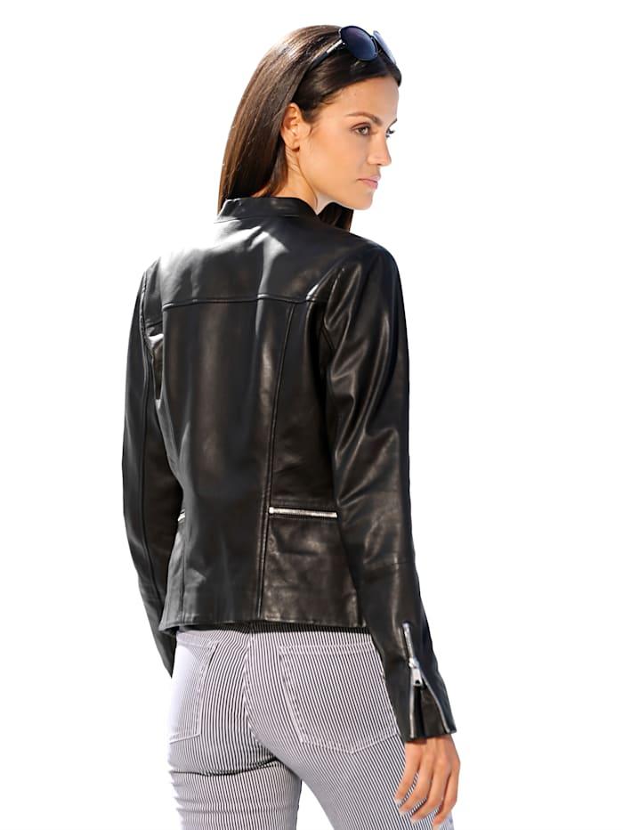 Maze Veste en cuir de style motard, Noir