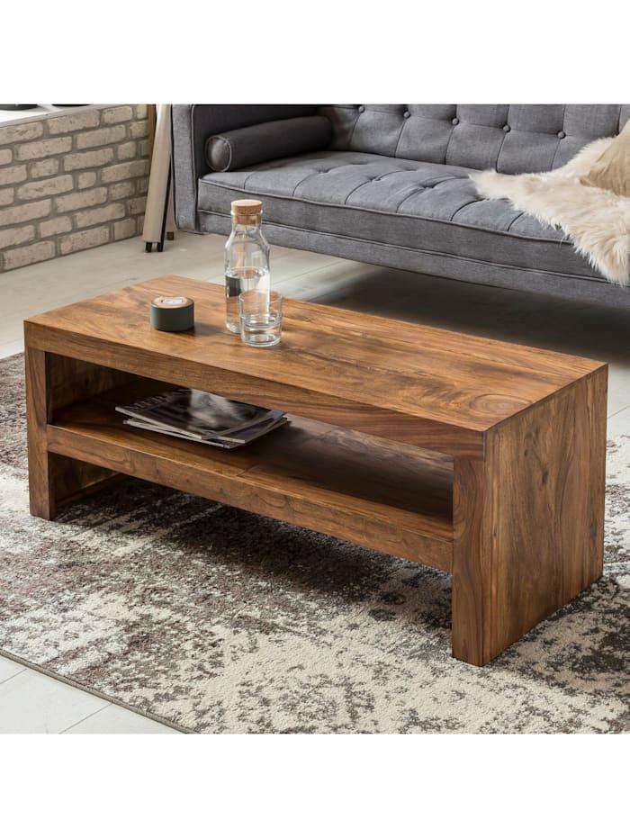 finebuy Couchtisch Massiv-Holz Durban 110 cm breit Wohnzimmer-Tisch braun Landhaus-Stil Beistelltisch, Dunkelbraun