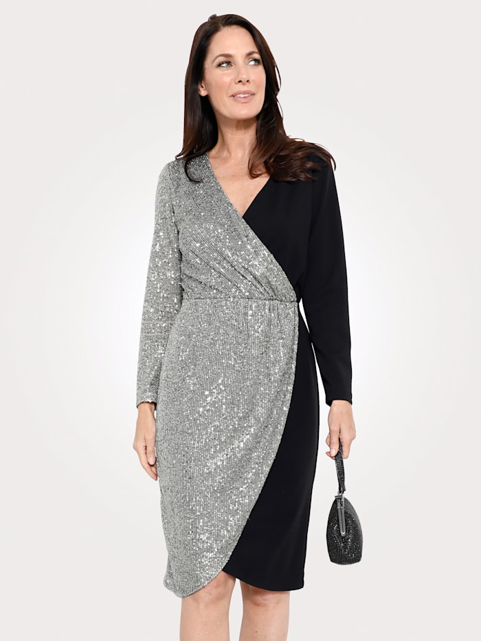 MONA Kleid in Wickeloptik, Schwarz/Silberfarben